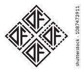 initial black letters df in...   Shutterstock .eps vector #1087473911
