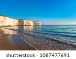 view of white chalk cliffs and... | Shutterstock . vector #1087477691
