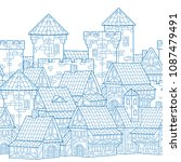 medieval city. seamless... | Shutterstock .eps vector #1087479491