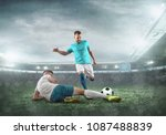 soccer players on a football... | Shutterstock . vector #1087488839