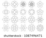 flower icon set  | Shutterstock .eps vector #1087496471