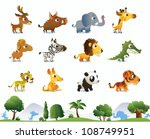 big zoo animals set | Shutterstock .eps vector #108749951