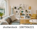 ladder with blanket standing... | Shutterstock . vector #1087506221
