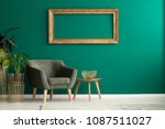 wooden table with gold  metal...   Shutterstock . vector #1087511027