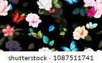 wide floral vintage seamless... | Shutterstock .eps vector #1087511741