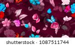 wide floral vintage seamless... | Shutterstock .eps vector #1087511744