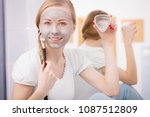 skincare. blonde woman in... | Shutterstock . vector #1087512809