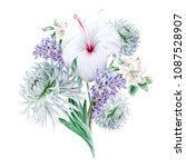 watercolor bouquet with flowers....   Shutterstock . vector #1087528907