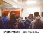 christian worship with raised... | Shutterstock . vector #1087531367