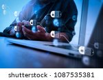blockchain technology concept... | Shutterstock . vector #1087535381