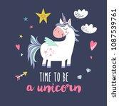 cute unicorn greeting card.... | Shutterstock .eps vector #1087539761
