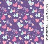 hand drawn hearts seamless... | Shutterstock .eps vector #1087539791
