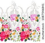 seamless floral border with... | Shutterstock .eps vector #1087546841