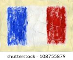 hand painted acrylic france flag | Shutterstock . vector #108755879