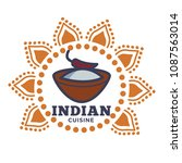 indian cuisine emblem with bowl ... | Shutterstock .eps vector #1087563014