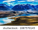 the landscape of the lake with... | Shutterstock . vector #1087570145