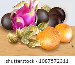 exotic fruits vector realistic. ... | Shutterstock .eps vector #1087572311