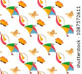 fly kite seamless pattern... | Shutterstock .eps vector #1087572611