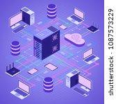 data network cloud computing... | Shutterstock .eps vector #1087573229