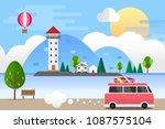 light house in the sea... | Shutterstock .eps vector #1087575104