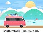 sea landscape and van car... | Shutterstock .eps vector #1087575107