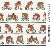 bear animal on a bike vector... | Shutterstock .eps vector #1087577729