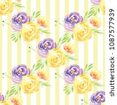 hand painted watercolor floral... | Shutterstock . vector #1087577939