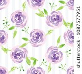 hand painted watercolor floral... | Shutterstock . vector #1087577951