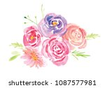 hand painted watercolor floral... | Shutterstock . vector #1087577981