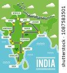 cartoon vector map of india.... | Shutterstock .eps vector #1087583501