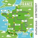 cartoon vector map of france.... | Shutterstock .eps vector #1087583507
