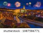 cesky krumlov and fireworks in... | Shutterstock . vector #1087586771