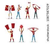 peru football fans. cheerful... | Shutterstock .eps vector #1087587029