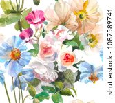 seamless floral pattern with... | Shutterstock . vector #1087589741