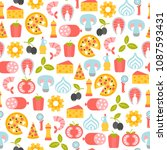 seamless pattern with pizza... | Shutterstock .eps vector #1087593431