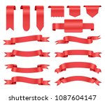 set of red ribbons.realistic...   Shutterstock .eps vector #1087604147