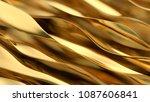 Golden Wave Background. Gold...