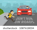 young boy running onto road.... | Shutterstock .eps vector #1087618034