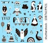 set of hand drawn birthday... | Shutterstock .eps vector #1087619921