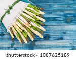 White and green fresh asparagus ...