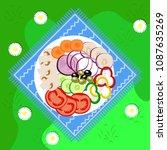 vegetables picnic in the open... | Shutterstock .eps vector #1087635269