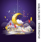 ramadan kareem. vector... | Shutterstock .eps vector #1087637804