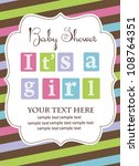 baby shower card design. vector ... | Shutterstock .eps vector #108764351