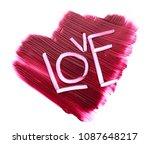 red makeup smear of matte lip... | Shutterstock . vector #1087648217