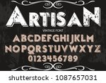 vintage font handcrafted vector ... | Shutterstock .eps vector #1087657031
