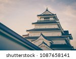 tsuruga castle at aizuwakamatsu ... | Shutterstock . vector #1087658141