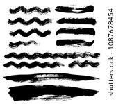 black wave brush strokes vector ... | Shutterstock .eps vector #1087678454