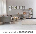 modern grey living room chair... | Shutterstock . vector #1087683881