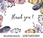 frame of feathers and flowers... | Shutterstock . vector #1087685384