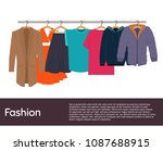 clothes on hangers | Shutterstock .eps vector #1087688915